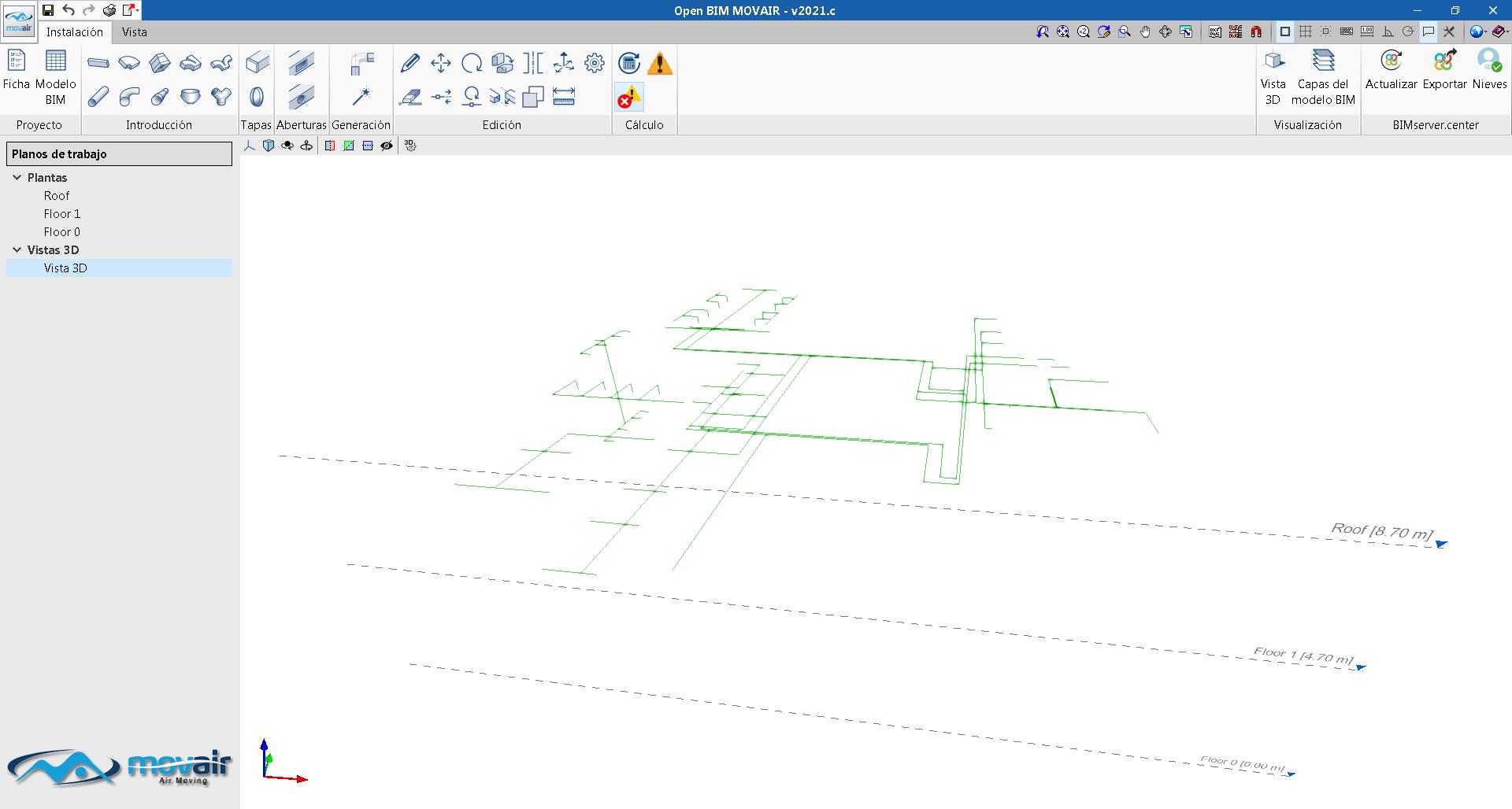 Open BIM MOVAIR. Lectura de modelos de cálculo incluidos en el proyecto BIM en formato IFC
