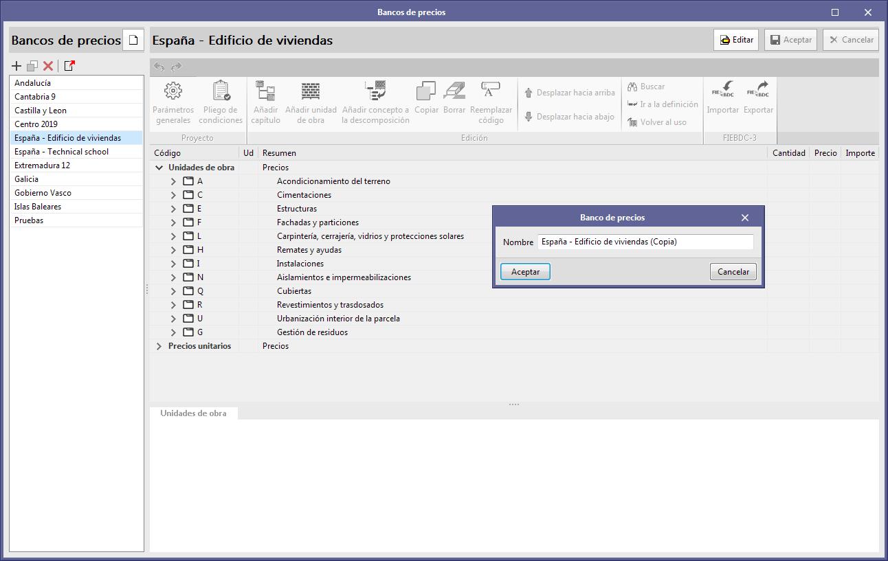 Open BIM Quantities y aplicaciones con solapa Presupuesto. Copiar un banco de precios