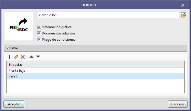 Aplicaciones con solapa Presupuesto. Filtro de etiquetas para la exportación a FIEBDC-3 (.bc3)