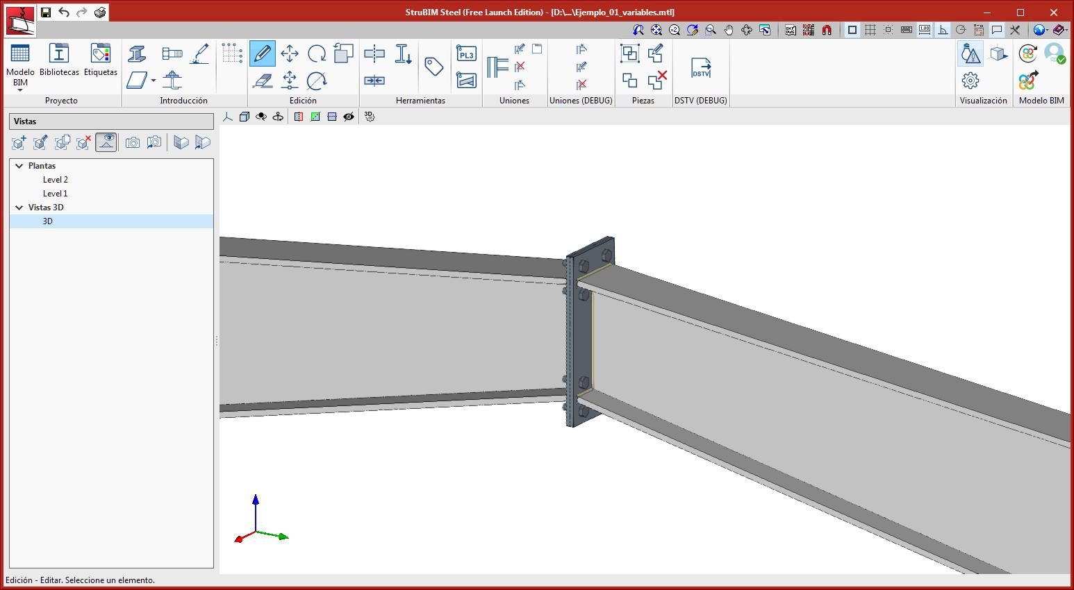 StruBIM Steel. Adaptación de uniones a perfiles armados de canto variable