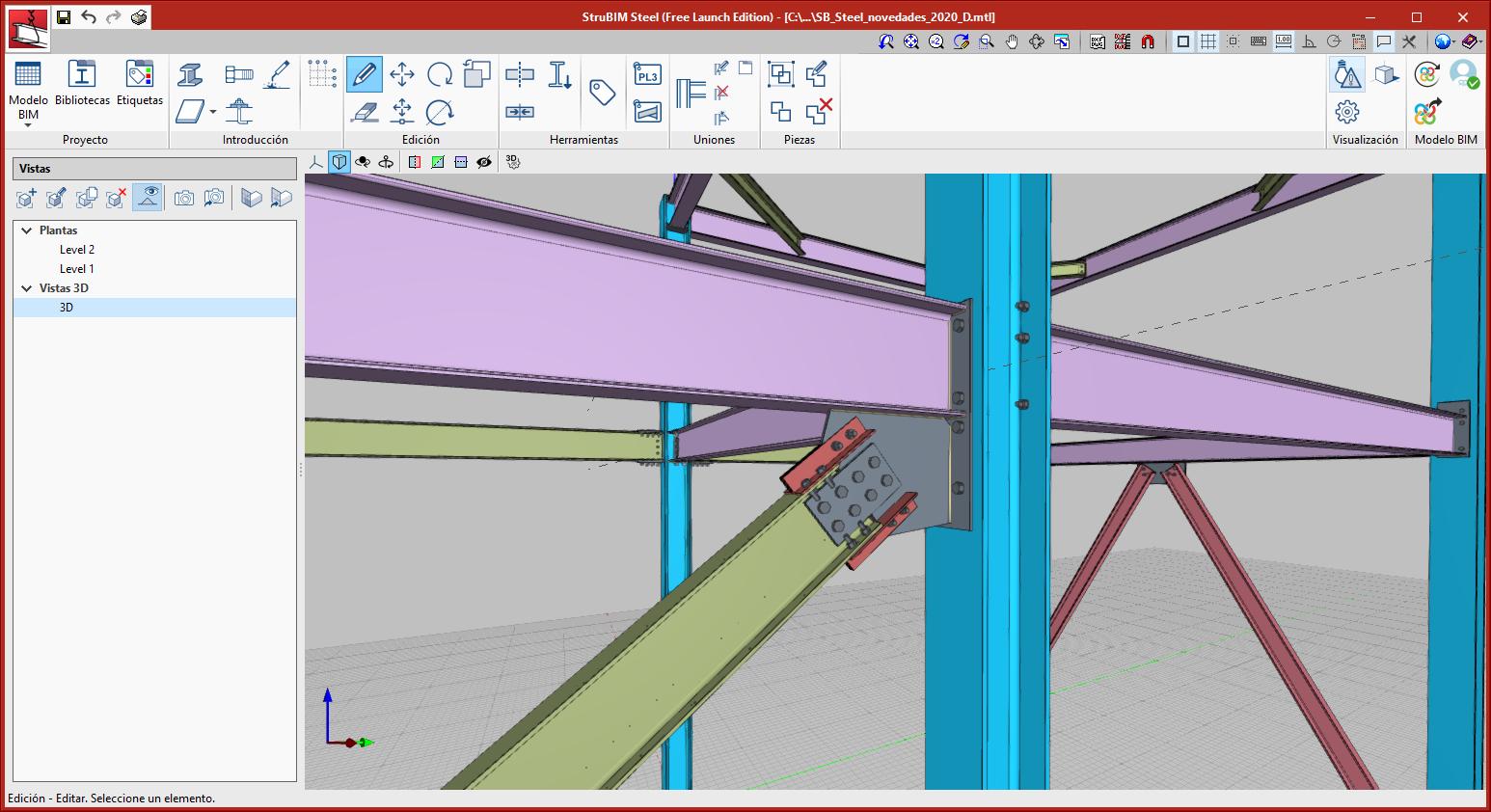 StruBIM Steel. Unión entre pilar, viga y diagonal