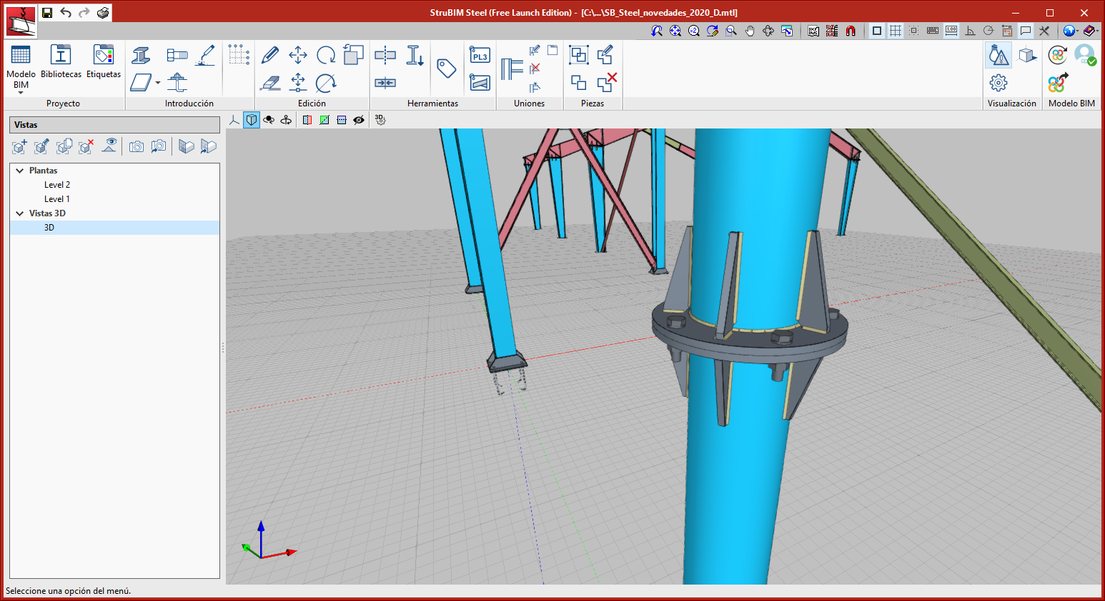 StruBIM Steel. Empalme de tubos circulares