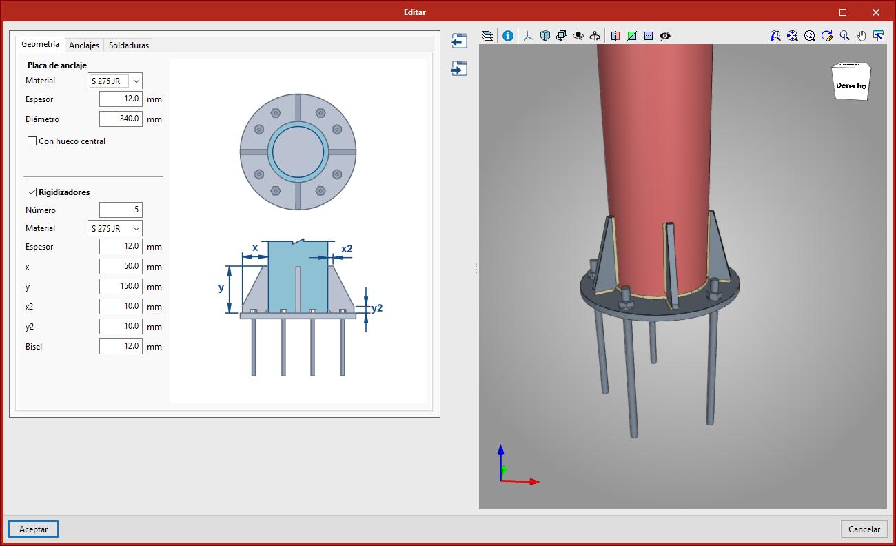 StruBIM Steel. Placa de anclaje para tubos circulares