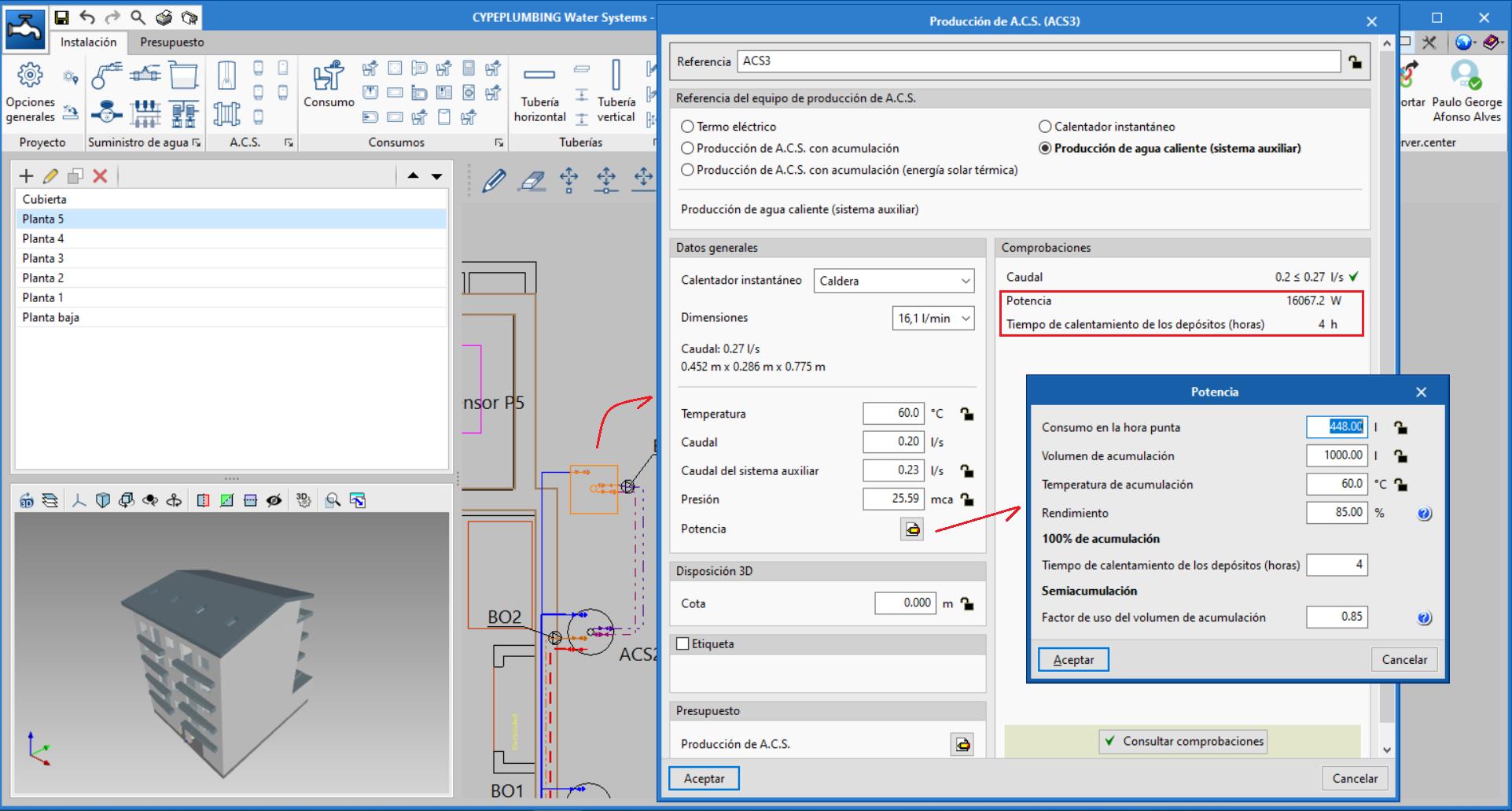 CYPEPLUMBING Water Systems. Cálculo de la potencia de los equipos de producción instantánea de A.C.S. en los sistemas directo y auxiliar