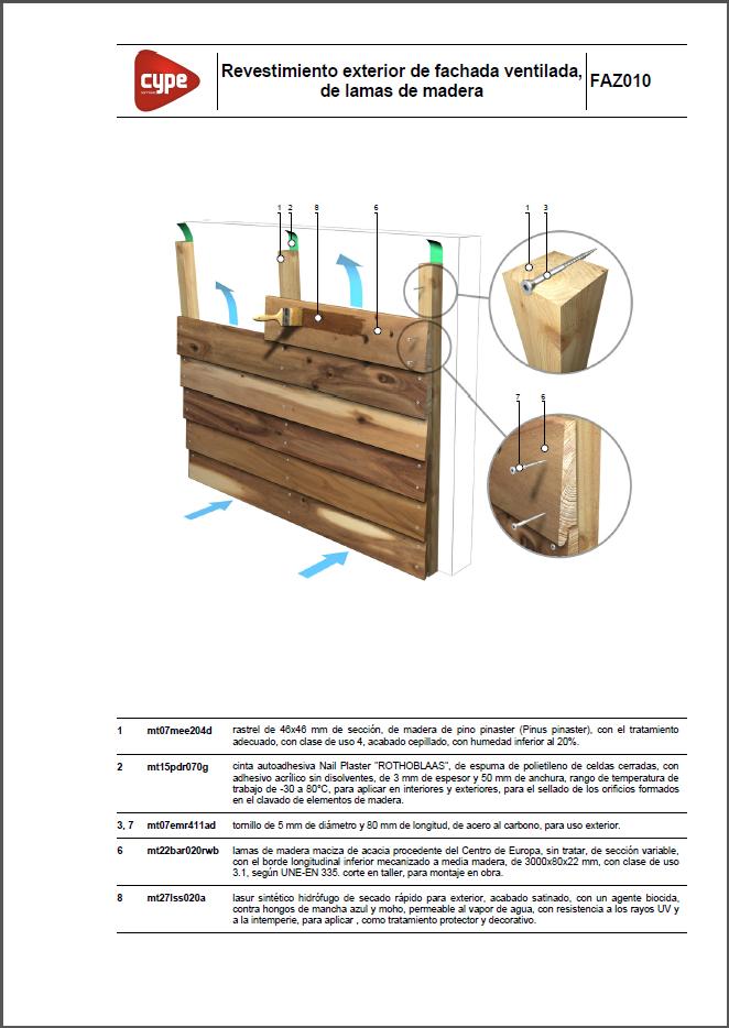 Detalles constructivos. Revestimiento exterior de fachada ventilada, de lamas o listones de madera